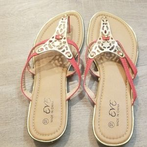 Eve coral red and gold flip flop sandal